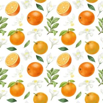 Patrones sin fisuras con naranjas dibujadas a mano y flores naranjas
