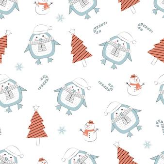 Patrones sin fisuras de navidad con pingüino