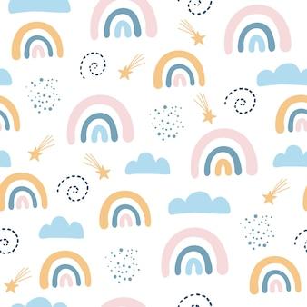 Patrones sin fisuras con nubes y arco iris en el cielo, estilo escandinavo