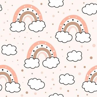 Patrones sin fisuras con nubes y arco iris en el cielo