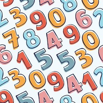 Patrones sin fisuras con números coloridos doodle. dibujado a mano de fondo.