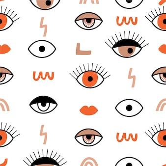Patrones sin fisuras con ojos psicodélicos.