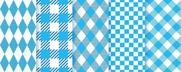 Patrones sin fisuras de oktoberfest bávaro. fondos de diamantes azules con rombos