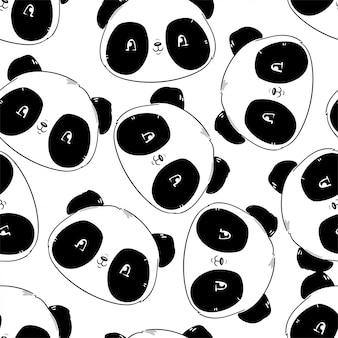Patrones sin fisuras con oso panda
