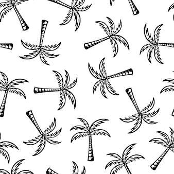 Patrones sin fisuras de palmera. diseño de garabatos sobre fondo blanco.