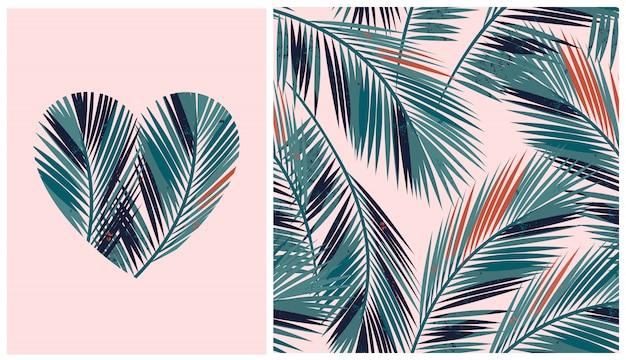 Patrones sin fisuras con palmeras tropicales y en forma de corazón