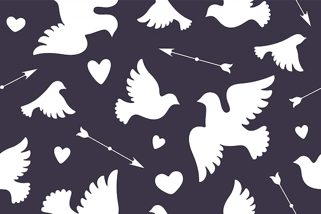 Patrones sin fisuras con palomas de amor blanco