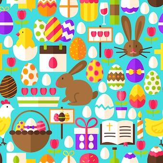 Patrones sin fisuras de pascua azul. ilustración de vector de diseño plano. fondo de azulejos. vacaciones de primavera.
