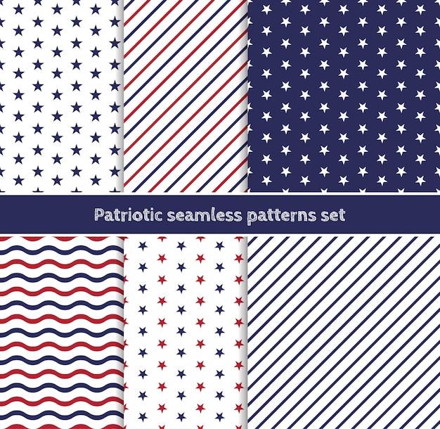 Patrones sin fisuras patrióticos estadounidenses con rayas y estrellas en colores rojo, azul y blanco tradicionales.