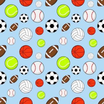 Patrones sin fisuras pelotas de fútbol, rugby, béisbol, baloncesto, tenis y voleibol