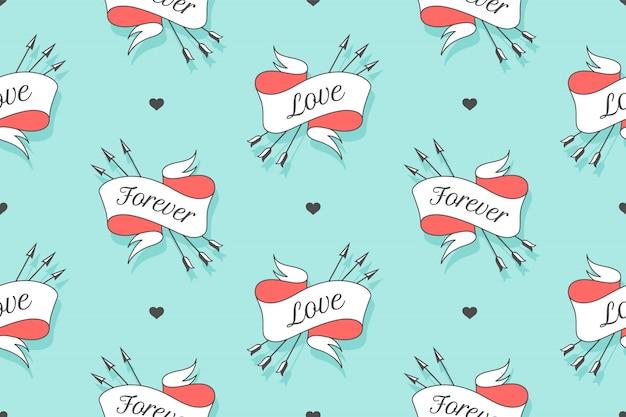 Patrones sin fisuras con pequeños corazones y cintas con flechas con el texto para siempre