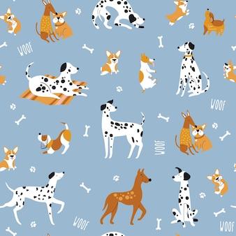 Patrones sin fisuras con perros de divertidos dibujos animados