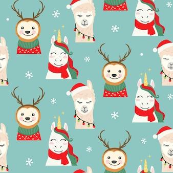 Patrones sin fisuras de personajes de navidad