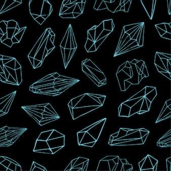 Patrones sin fisuras con piedras preciosas, cristales valiosos o piedras preciosas