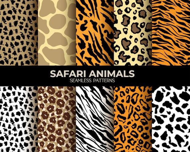 Patrones sin fisuras de pieles de animales leopardo, tigre, cebra