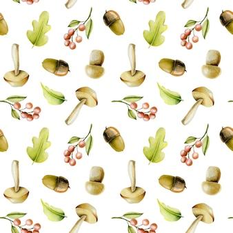 Patrones sin fisuras con plantas otoñales acuarelas