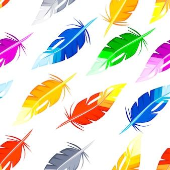 Patrones sin fisuras con plumas de colores