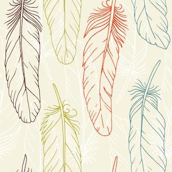 Patrones sin fisuras de plumas dibujadas a mano