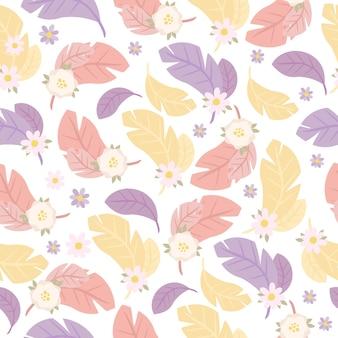 Patrones sin fisuras con plumas y flores
