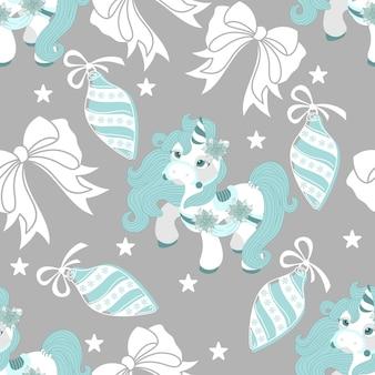 Patrones sin fisuras con un pony de navidad