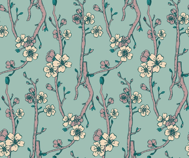 Patrones sin fisuras con ramas dibujadas a mano de un florecimiento
