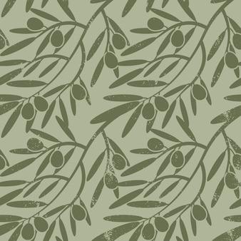 Patrones sin fisuras con ramas de olivo.
