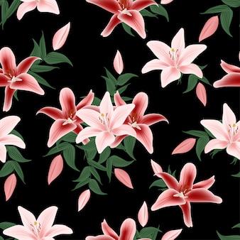 Patrones sin fisuras con ramo de flores de lirio