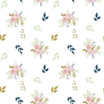 Patrones sin fisuras con ramos de flores rosas y hojas