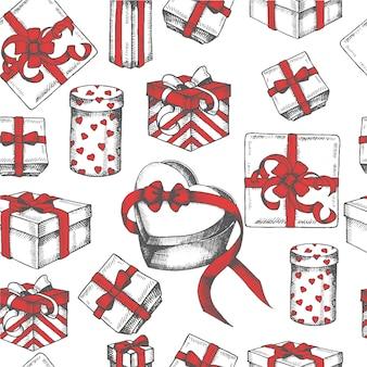 Patrones sin fisuras con regalos dibujados a mano.