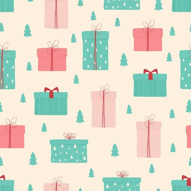 Patrones sin fisuras con regalos de navidad y año nuevo.