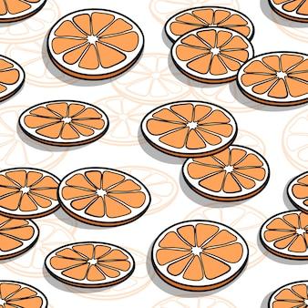 Patrones sin fisuras con rodajas de naranja dibujadas a mano con sombras