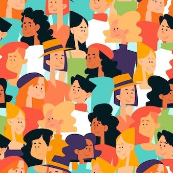 Patrones sin fisuras con rostros de mujeres en la multitud
