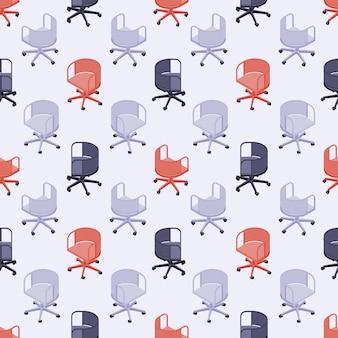 Patrones sin fisuras con sillas de oficina de color