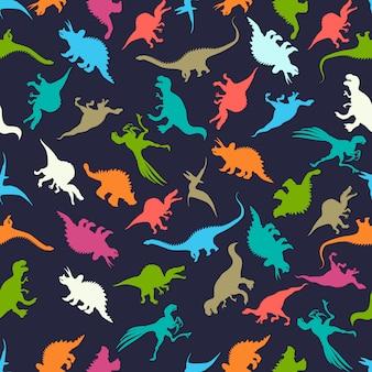 Patrones sin fisuras con siluetas de dinosaurios