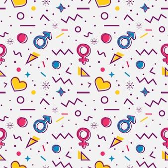 Patrones sin fisuras con símbolos de género y corazones. vector.