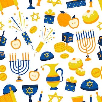 Patrones sin fisuras con símbolos de hanukkah