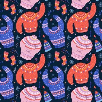 Patrones sin fisuras con suéteres navideños