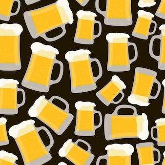 Patrones sin fisuras con taza de cerveza