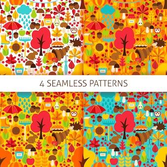 Patrones sin fisuras de la temporada de otoño. conjunto de fondo de vector. texturas estacionales de otoño.