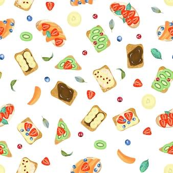 Patrones sin fisuras de tostadas dulces con diferentes ingredientes
