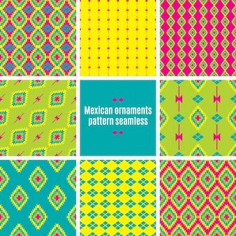 Patrones sin fisuras de tracería folklórica mexicana