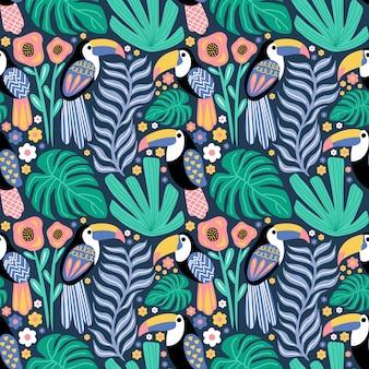 Patrones sin fisuras tucán pájaro tropical planta monstera flor