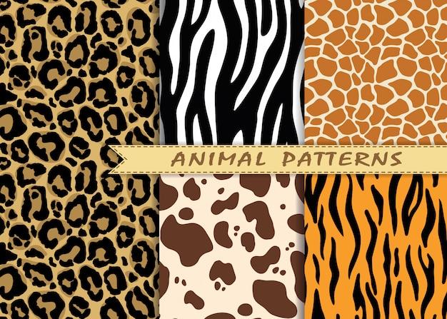 Patrones sin fisuras vector set con textura de piel animal.