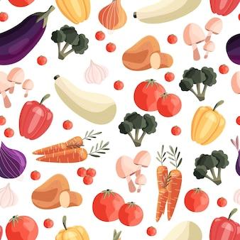 Patrones sin fisuras con verduras de colores