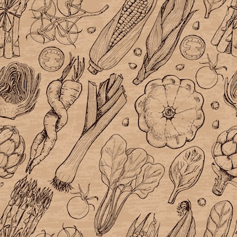 Patrones sin fisuras con verduras frescas