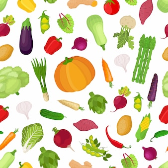 Patrones sin fisuras con verduras, gran colección de plantas