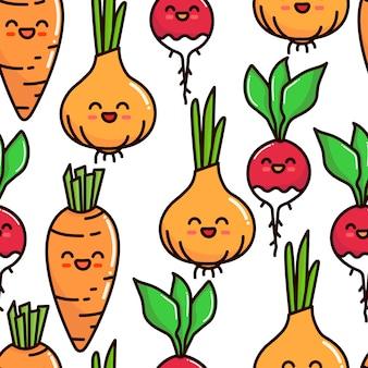 Patrones sin fisuras de verduras personajes