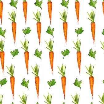 Patrones sin fisuras con zanahorias y verduras. estilo acuarela