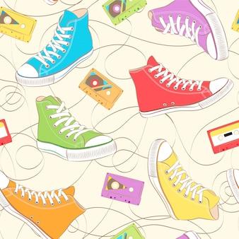 Patrones sin fisuras con zapatillas de deporte