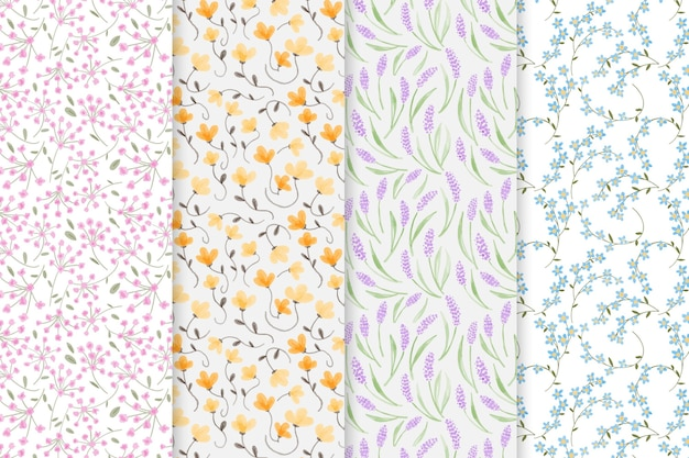 Patrones florales acuarelas abstractas